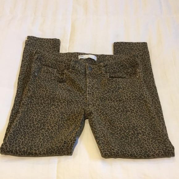 Zara leopard printed jeans